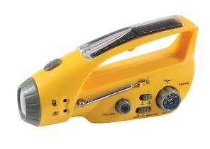 Vev- och solcellslampa med radio.